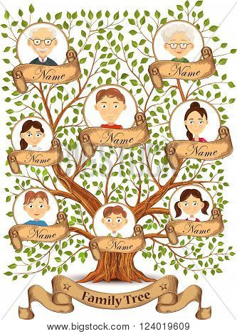 Family tree with portraits of family members vector illustration