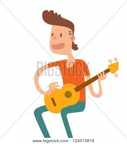 Acoustic guitar boy sitting and play flat illustration. Acoustic guitar boy cartoon character with guitar on white background.