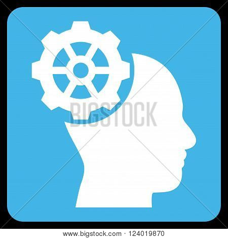 Head Gear vector icon symbol. Image style is bicolor flat head gear icon symbol drawn on a rounded square with blue and white colors.