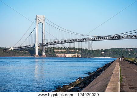 The Verrazano-Narrows Bridge as seen from The Belt Parkway Promenade in Brooklyn.