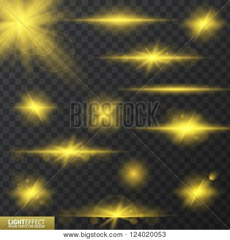 light effects, realistic lighting effect , light glow effect , vector glow luminescence for design, illustration of a set of light and glow effect,  Glowing stars,  Lights and Sparkles  effect,