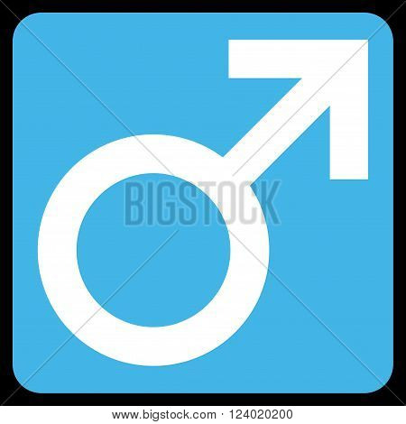 Male Symbol vector icon symbol. Image style is bicolor flat male symbol pictogram symbol drawn on a rounded square with blue and white colors.
