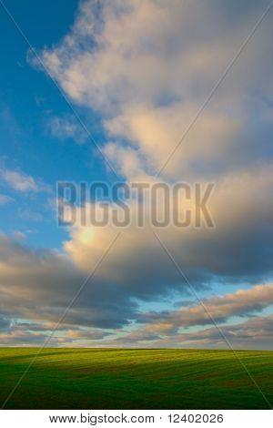 green field under the big cloud