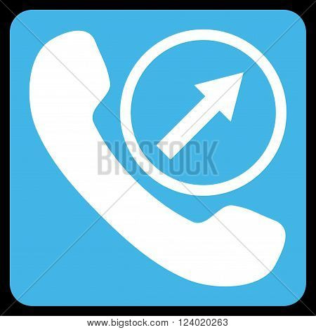 Outgoing Call vector symbol. Image style is bicolor flat outgoing call icon symbol drawn on a rounded square with blue and white colors.