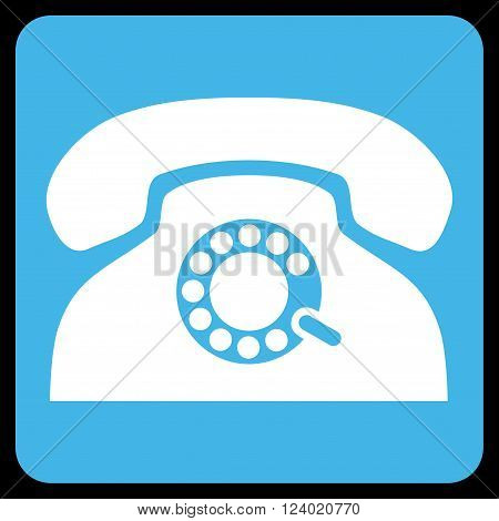 Pulse Phone vector icon symbol. Image style is bicolor flat pulse phone icon symbol drawn on a rounded square with blue and white colors.
