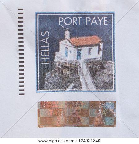 Greek Preprinted Stamp Over A Mail Envelope