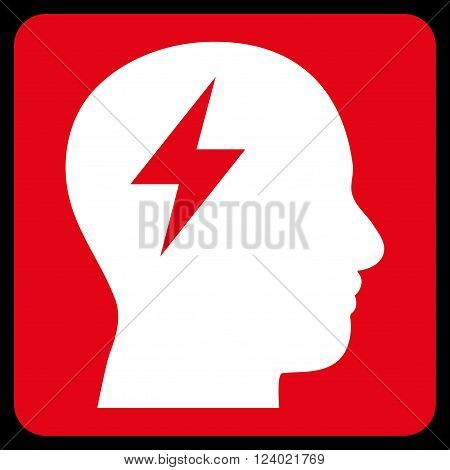 Brainstorming vector pictogram. Image style is bicolor flat brainstorming iconic symbol drawn on a rounded square with red and white colors.