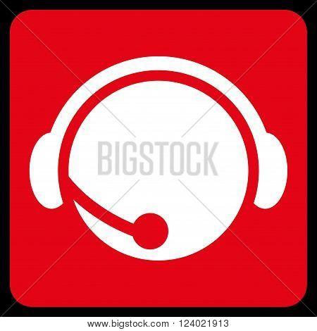 Call Center Operator vector symbol. Image style is bicolor flat call center operator iconic symbol drawn on a rounded square with red and white colors.