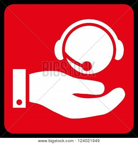 Call Center Service vector icon symbol. Image style is bicolor flat call center service iconic symbol drawn on a rounded square with red and white colors.