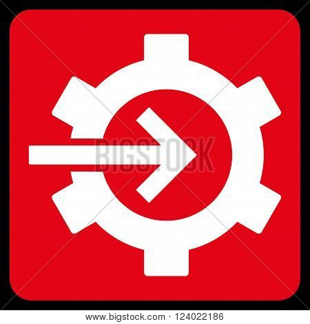 Cog Integration vector icon. Image style is bicolor flat cog integration iconic symbol drawn on a rounded square with red and white colors.