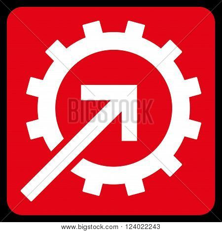 Cog Integration vector icon symbol. Image style is bicolor flat cog integration iconic symbol drawn on a rounded square with red and white colors.