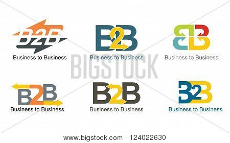 Business to Business abstract color illustration set