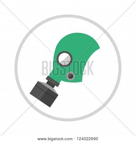Gas mask isolated render on a white background. Cartoon of classic army gas mask. Military gas mask filter. Gas mask . Gas mask protection. Gas mask danger .