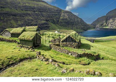 Village of Saksun located on the island of Streymoy, Faroe Islands, Denmark.