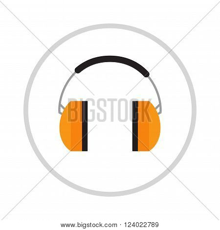 Protective ear muffs isolated on a white background. Ear protection, headphones icon. Headphones yellow ear protection. Ear protection work industry . Yellow headphones .
