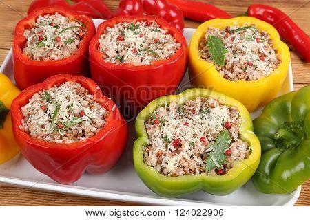 Stuffed paprika with meat rice and buckwheat.