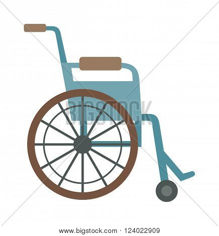 Wheelchair flat design medical icon. Illustration wheelchair. Standard and custom wheelchair. Racing in wheelchairs persons with disabilities. Wheelchair Handicap Cartoon. Disabled Carriage