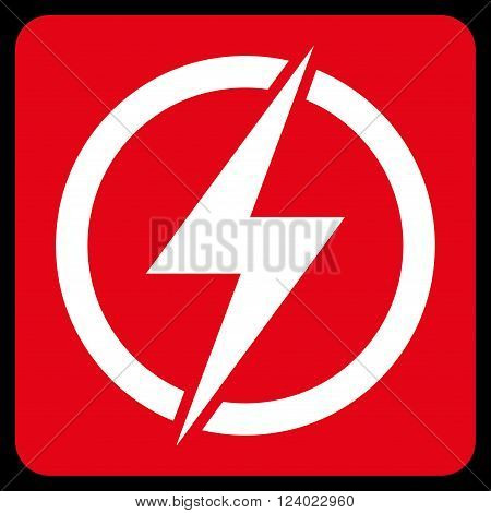 Electricity vector pictogram. Image style is bicolor flat electricity icon symbol drawn on a rounded square with red and white colors.