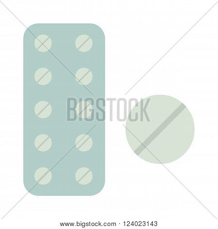 Medicine in tablet package illustration on white background. Tablet package isolated container. Tablet package isolated pharmaceutical. Pharmacy pill health .