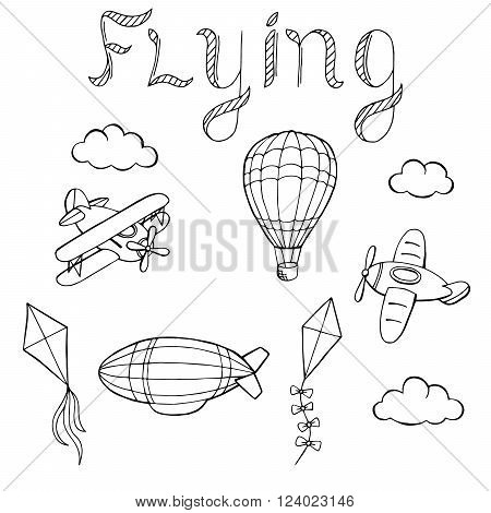 Flying airplane balloon airship kite cloud graphic art black white isolated illustration vector