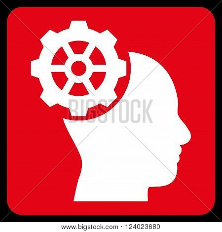 Head Gear vector icon. Image style is bicolor flat head gear icon symbol drawn on a rounded square with red and white colors.