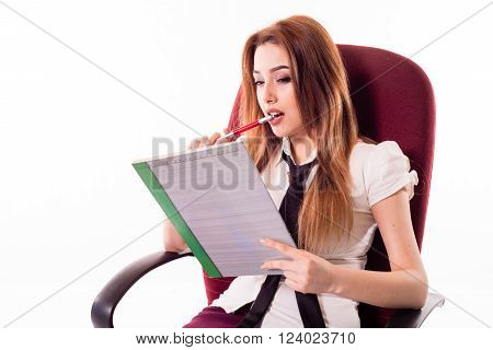 Woman complements Resume, girl sitting thinking about what to write, Girl  with pan and copybook