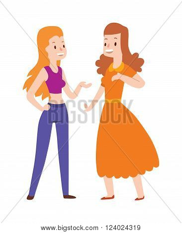 Two girlfriends cartoon trendy gossiping illustration. Girlfriends cartoon young couple peoples. Girlfriends cartoon fashion design