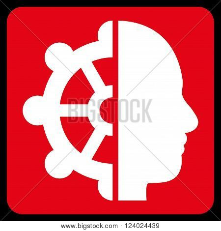 Intellect vector symbol. Image style is bicolor flat intellect icon symbol drawn on a rounded square with red and white colors.