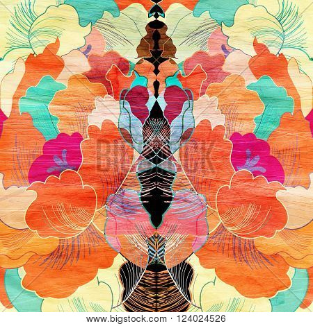 Abstract watercolor retro bright background with different plant elements