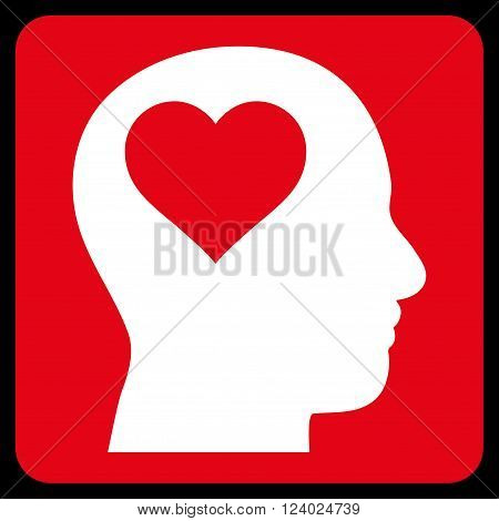 Lover Head vector icon symbol. Image style is bicolor flat lover head pictogram symbol drawn on a rounded square with red and white colors.