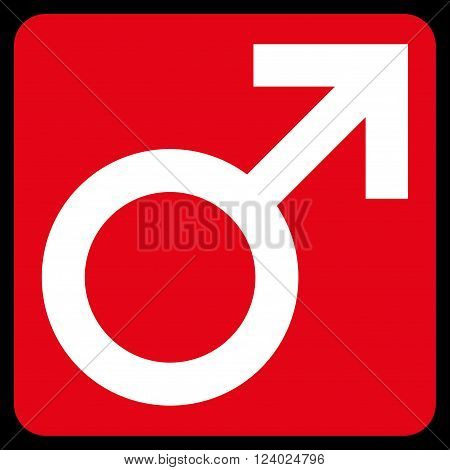 Male Symbol vector pictogram. Image style is bicolor flat male symbol icon symbol drawn on a rounded square with red and white colors.