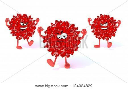 Three Red Virus With Arms, Legs And Face