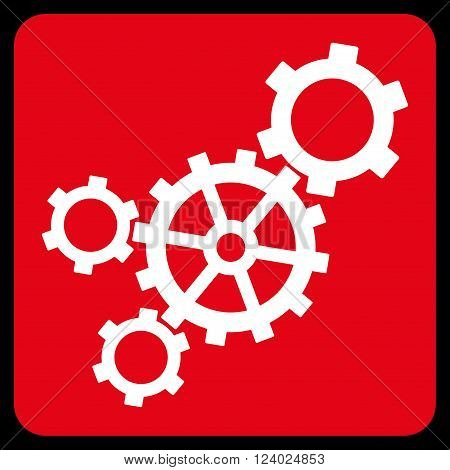 Mechanism vector icon symbol. Image style is bicolor flat mechanism pictogram symbol drawn on a rounded square with red and white colors.