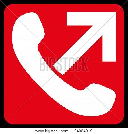 Outgoing Call vector icon. Image style is bicolor flat outgoing call iconic symbol drawn on a rounded square with red and white colors.