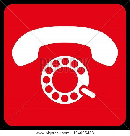 Pulse Dialing vector pictogram. Image style is bicolor flat pulse dialing iconic symbol drawn on a rounded square with red and white colors.