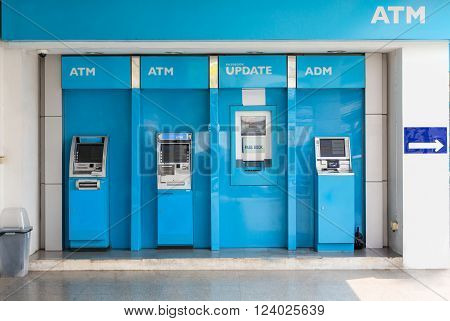 Nakhonratchasima THAILAND March 13 2016 : Station of ATM machines and deposit machines.