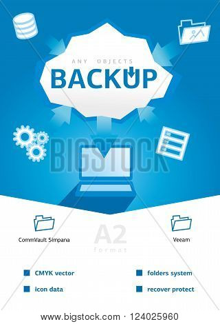 Backup and recovery data. Design for Web, Mail, Brochures. Mobile, Technology, and Infographic Concept. Modern flat and line icons. SaaS, web app design template. Mobile interface