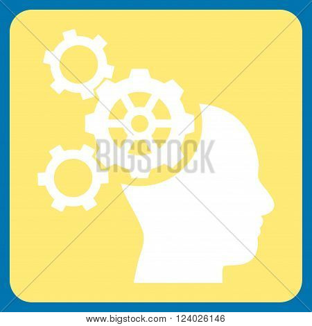 Brain Mechanics vector icon. Image style is bicolor flat brain mechanics icon symbol drawn on a rounded square with yellow and white colors.