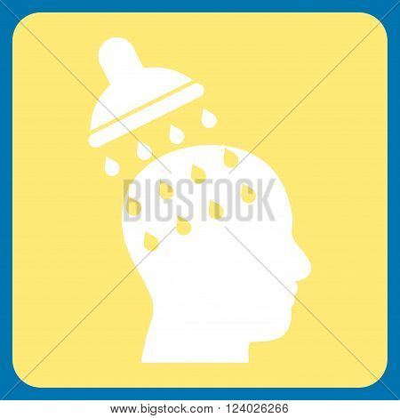 Brain Washing vector symbol. Image style is bicolor flat brain washing pictogram symbol drawn on a rounded square with yellow and white colors.