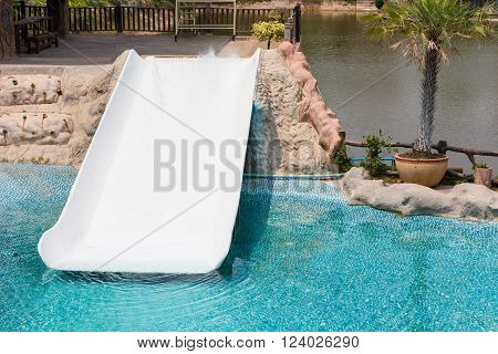 Water slider outdoor in the swimming pool.