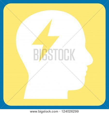 Brainstorming vector symbol. Image style is bicolor flat brainstorming pictogram symbol drawn on a rounded square with yellow and white colors.