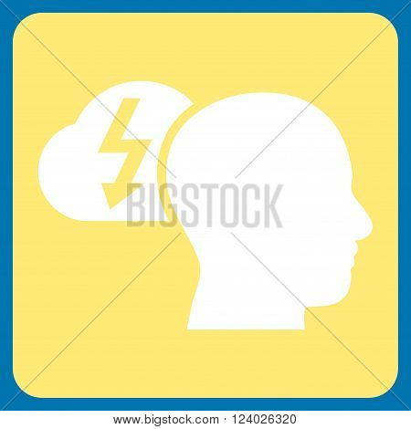Brainstorming vector icon symbol. Image style is bicolor flat brainstorming iconic symbol drawn on a rounded square with yellow and white colors.
