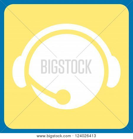 Call Center Operator vector icon symbol. Image style is bicolor flat call center operator iconic symbol drawn on a rounded square with yellow and white colors.