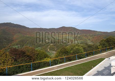 The observation platform with autumn landscape in the mountains of Gandzasar