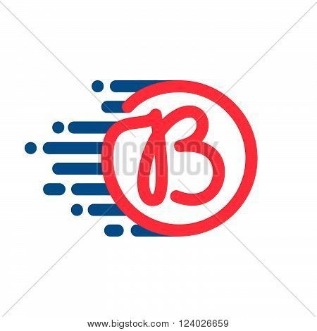 B Letter Logo In Circle With Speed Line.