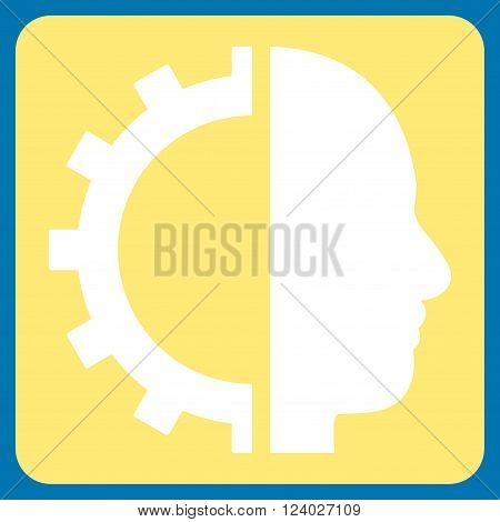 Cyborg Gear vector symbol. Image style is bicolor flat cyborg gear iconic symbol drawn on a rounded square with yellow and white colors.