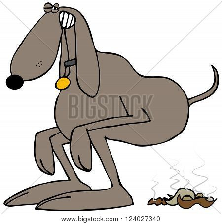 Illustration of a brown dog squatting to take a poop.