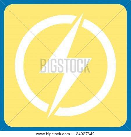 Electricity vector symbol. Image style is bicolor flat electricity iconic symbol drawn on a rounded square with yellow and white colors.