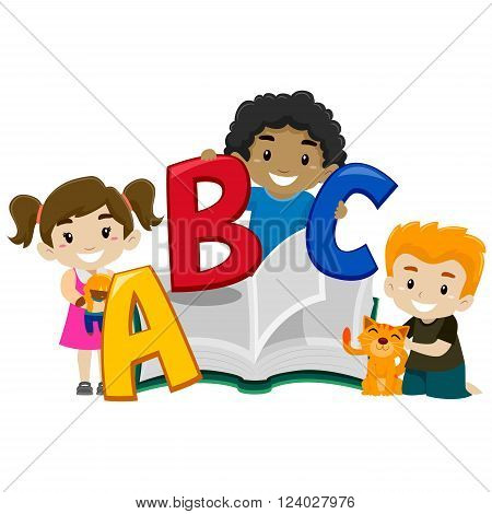 Vector of Cute Kids holding a Book ABC