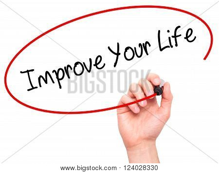 Man Hand Writing Improve Your Life With Black Marker On Visual Screen.
